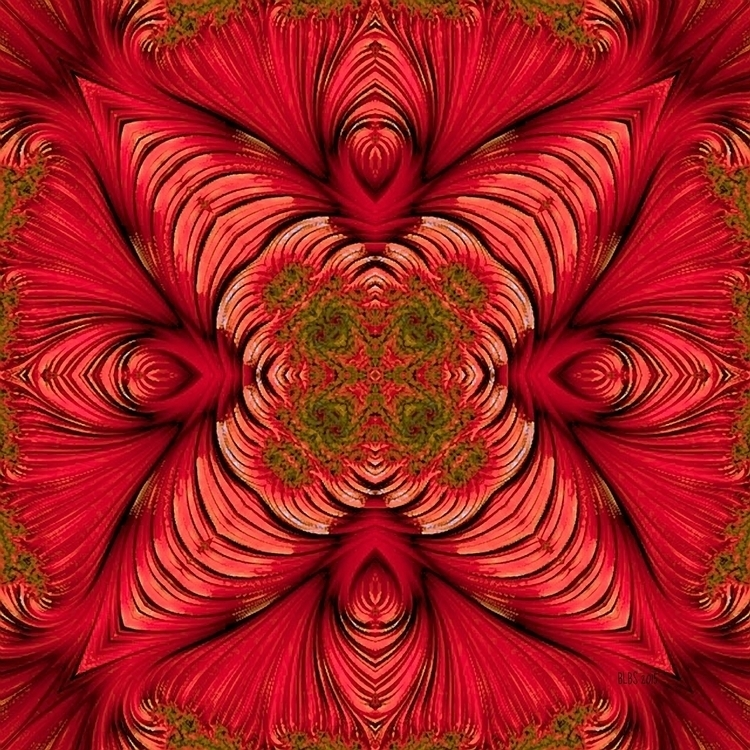 Red Fractal Star - abstract, red - barbaralbs | ello