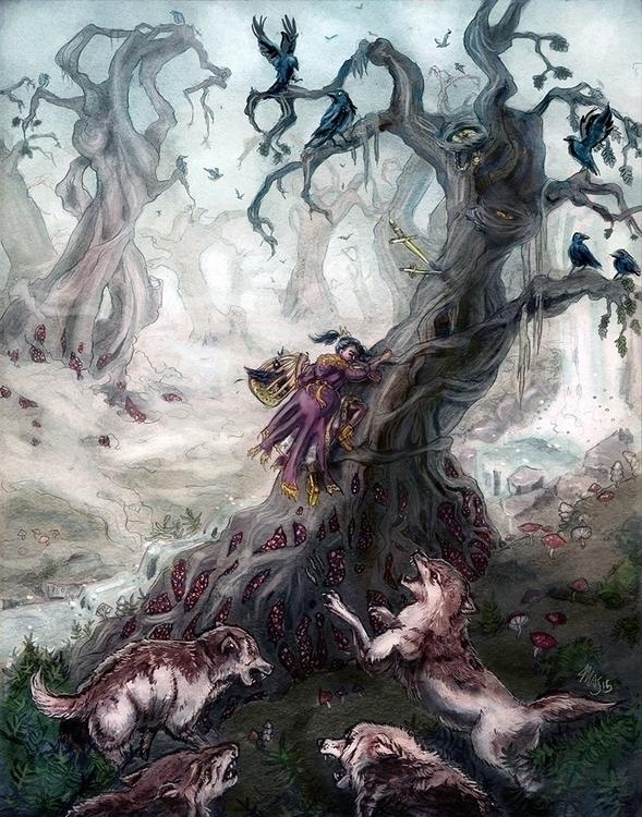 Dangers Mist - fairytale, wolf, wolves - pommejane | ello