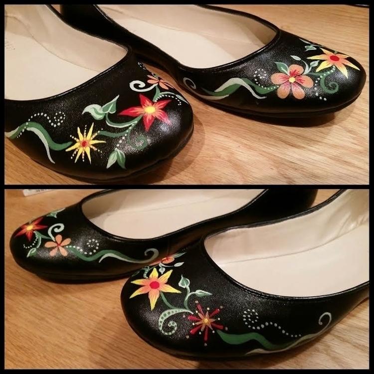 shoes, flats, balletflats, handpainted - marysheaffer   ello