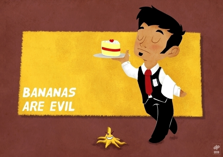 Bananas evil - illustration, drawing - diloupilou | ello