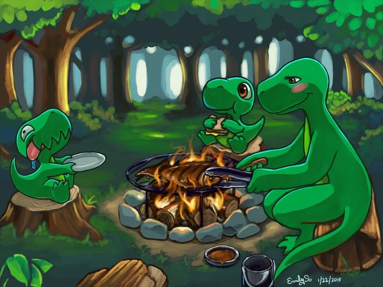 Dinnersaurus illustration - dinosaur - emilyso321 | ello