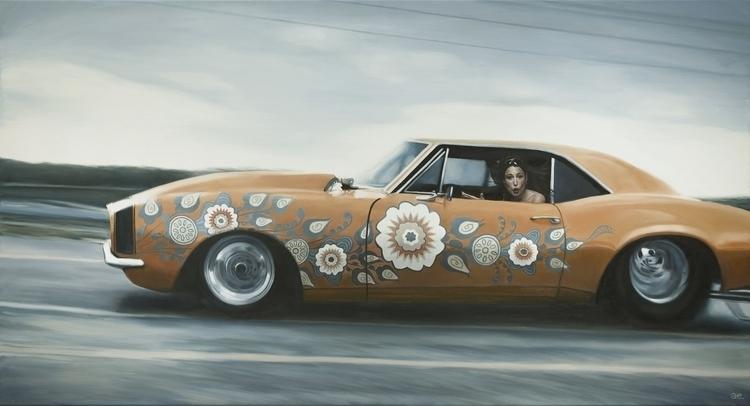 """Curbits"" Oil painting print - camaro - andreasenglund-4144 | ello"