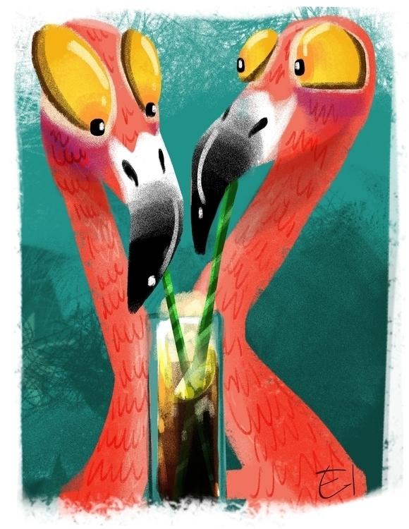 flamingo, illustration, digitalart - el0394 | ello