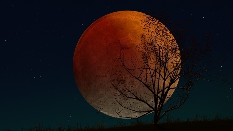 Blood Moon - illustration, 3dart - kniknox | ello