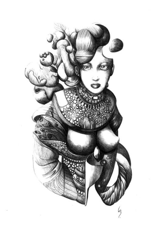 Stylo à bille, 21x42cm - illustration - lenabousquet | ello
