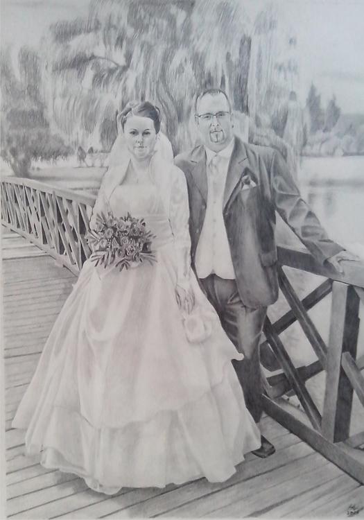 portrait, pencil - drawing, wedding - spiritfc | ello