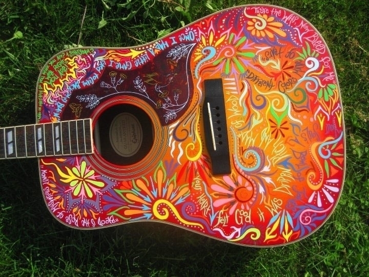 guitar, music, acoustic, handpainted - marysheaffer | ello