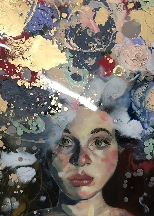 portrait, mixed media - illustration - katherinecafaro | ello