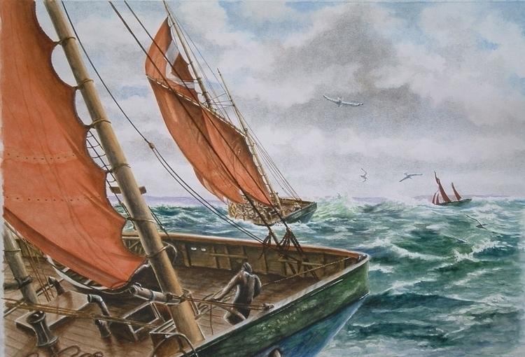 Big sloops - painting, watercolor - egral   ello
