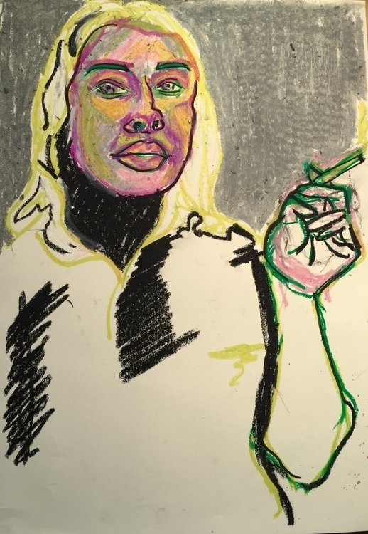 Oil pastels - illustration, portrait - caspertmoensted | ello