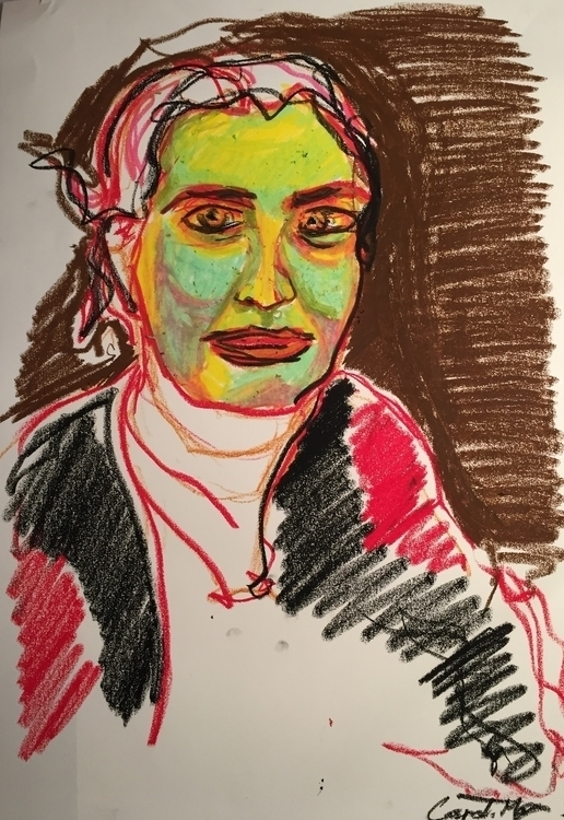 Oil pastels - portrait, illustration - caspertmoensted | ello