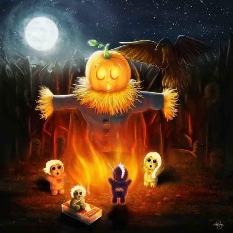 Burning Pumpkin - illustration, painting - cherrygraphics | ello