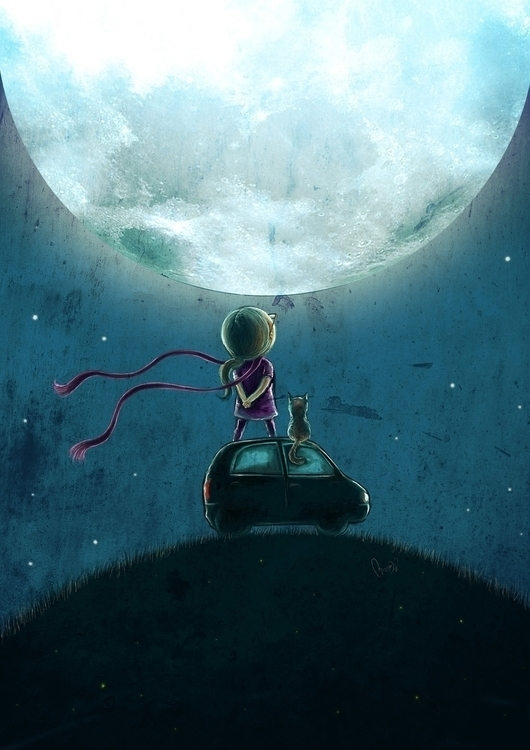 CAT WHISPERER - asks MOON...  - illustration - arosh-1433 | ello