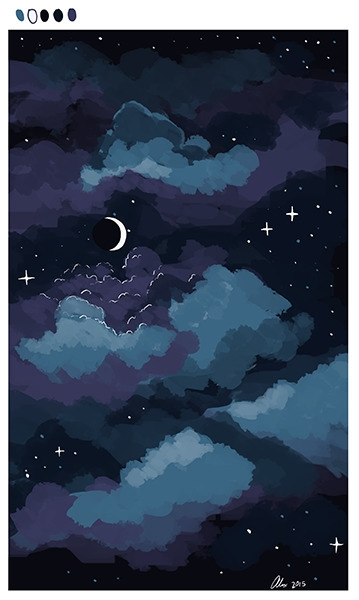 sky, night, speedpainting, illustration - alexandrasketch | ello
