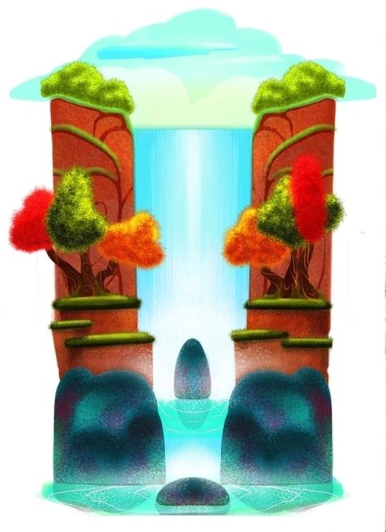 Silent Falls - illustration, painting - babetteara | ello