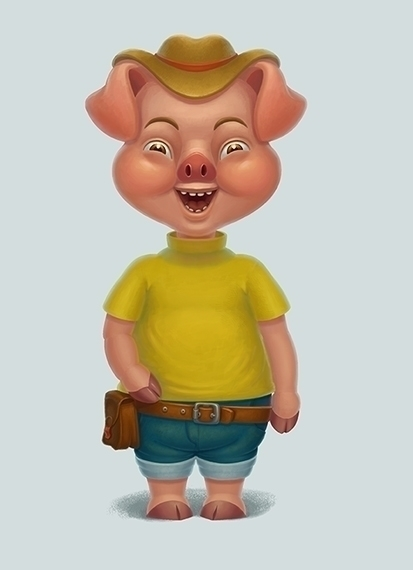 characterdesign, pig, painting - arisuber | ello
