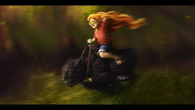 Girl riding cat - illustration, painting - pietkaw | ello