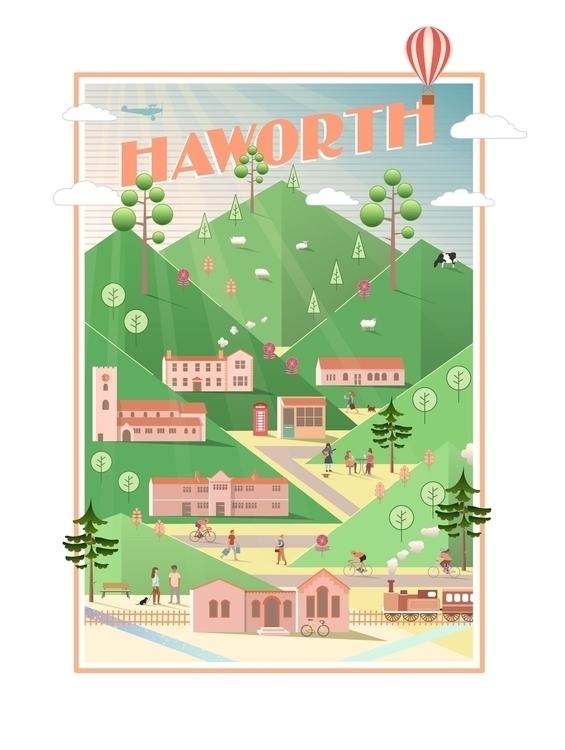 Illustrated Poster, Haworth, UK - mathildaholmqvist | ello