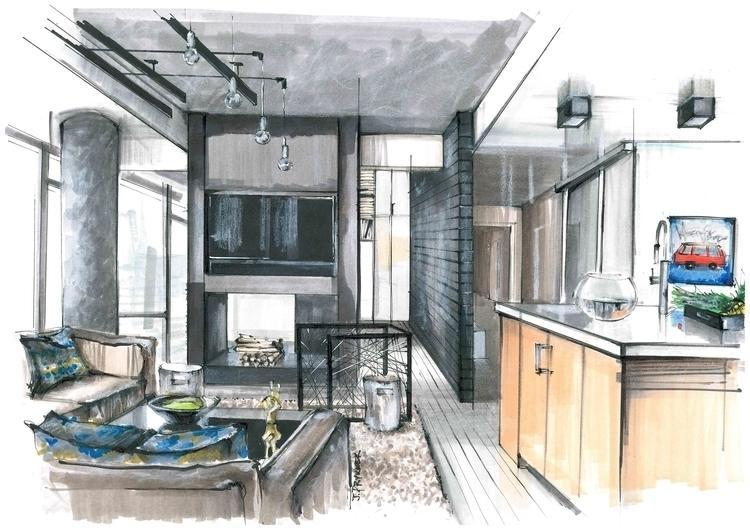 interior, sketch, interiorsketch - jdrukker | ello