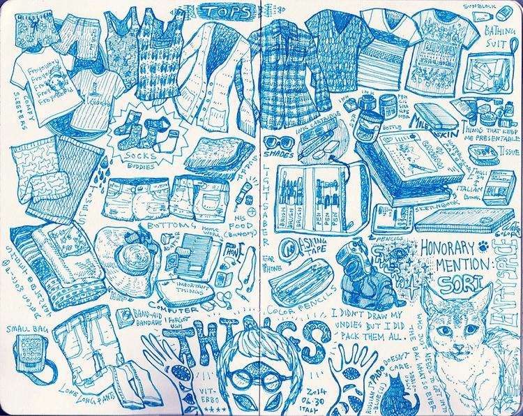 packed bag - sketchbook, sketch - kshin | ello