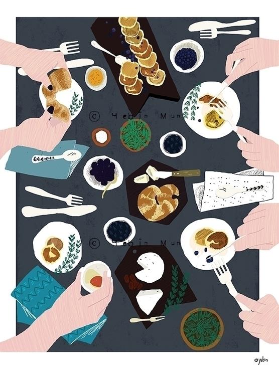 Dinner Table - illustration, painting - yebin | ello
