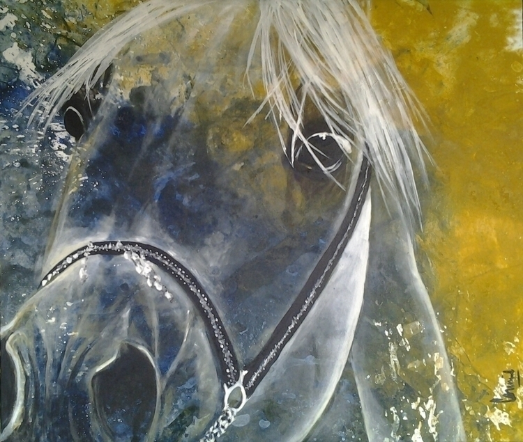painting, horses, expressions - conniemullerarte | ello