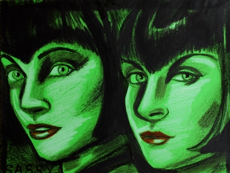 twins - bob,hair,sassy,green,originalart,drawing,flapper,people,illustration,fineart,portrait - leighburchell | ello