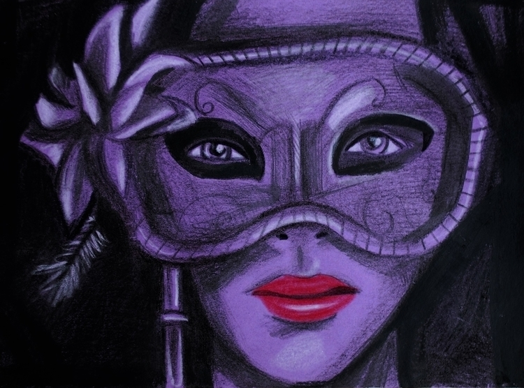 mask - mask,face,people,purple,portait,drawing,illustration,redlip,mascarade,ball - leighburchell | ello