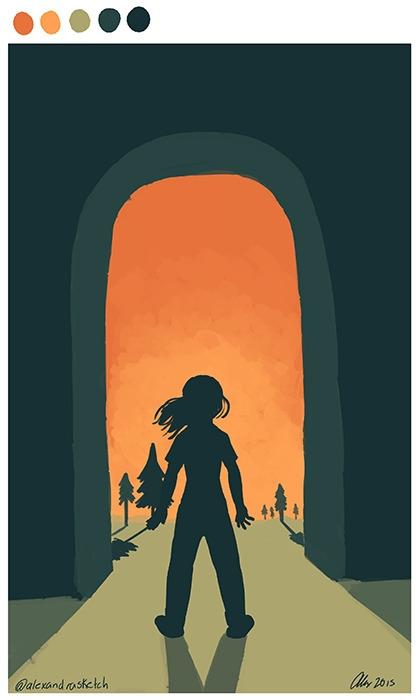 girl, door, speedpainting, digitalart - alexandrasketch | ello