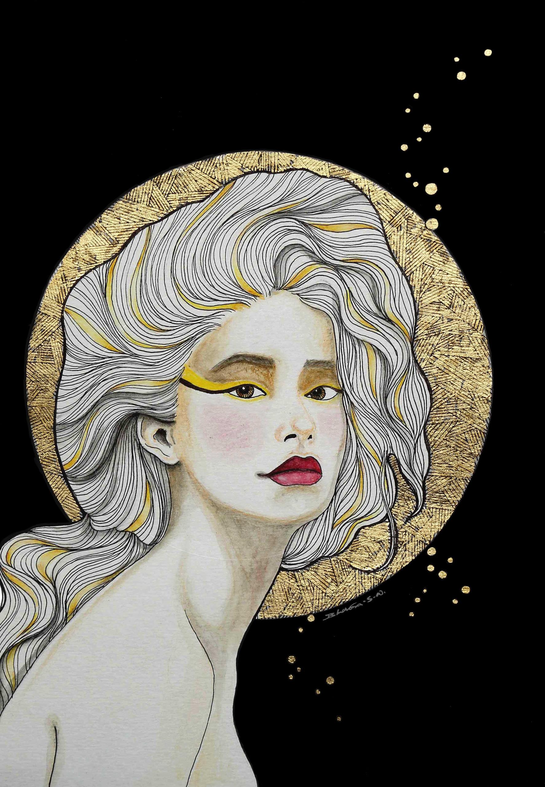 Flavia - lady, illustration, goldleaf - bhavanasn | ello