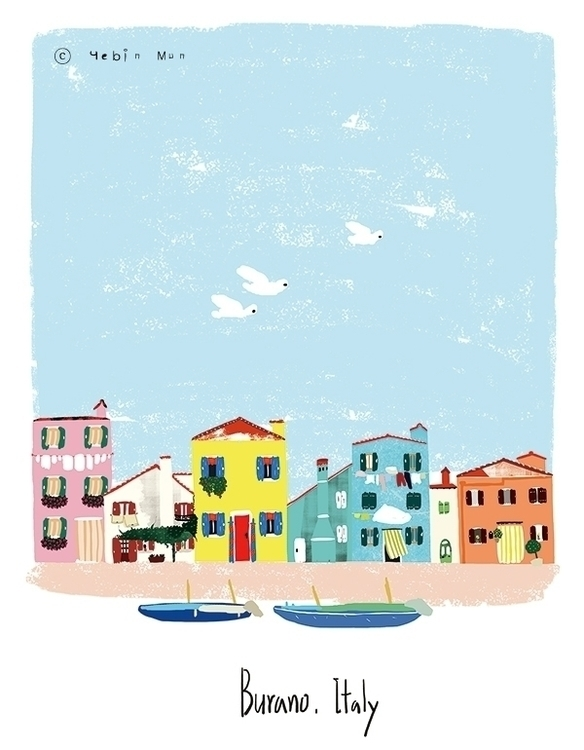burano, Italy - illustration, painting - yebin | ello