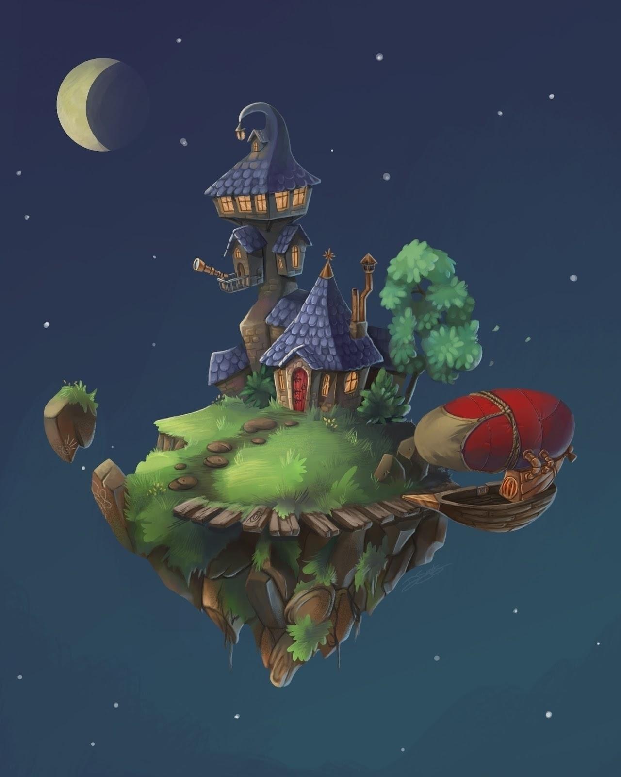 peaceful floating island - illustration - sketchingsands | ello