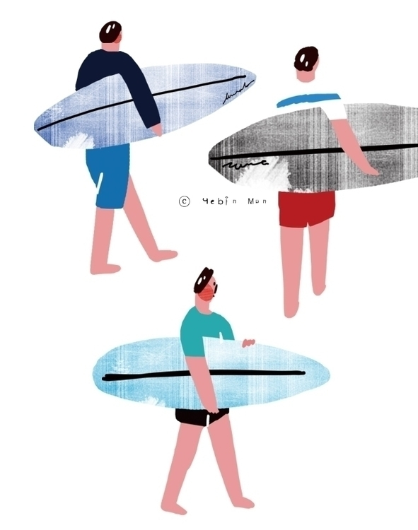 Summer surfing - illustration, painting - yebin | ello