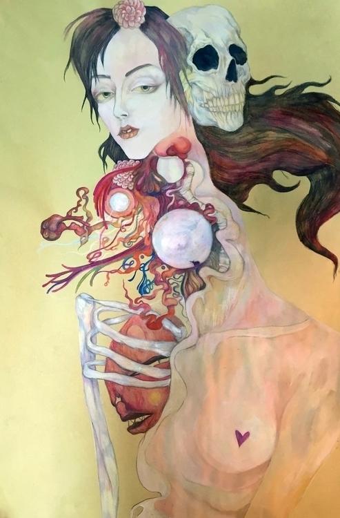 Spirit - pencildrawing, skull, figure - dashasadovnikova | ello