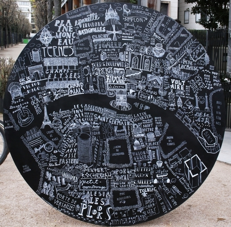 Typography map Paris - handlettering - sonjabajic | ello