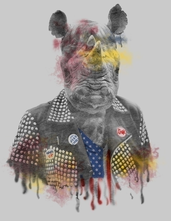 Rhino Punk - wild, punk, animals - seren-1097 | ello