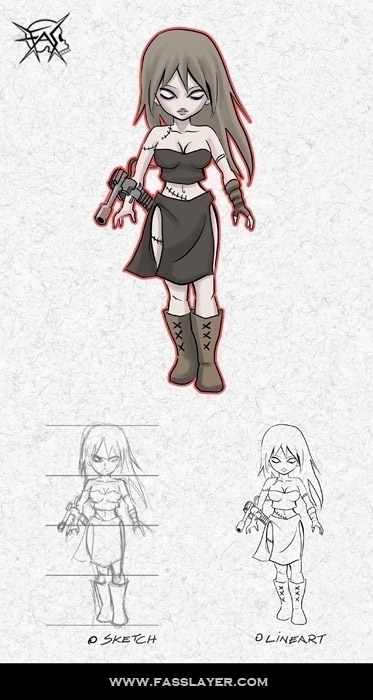 Zombie machine girl - illustration - fasslayer | ello