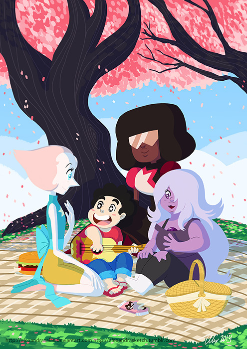 picnic - stevenuniverse, pearl, garnet - alexandrasketch | ello