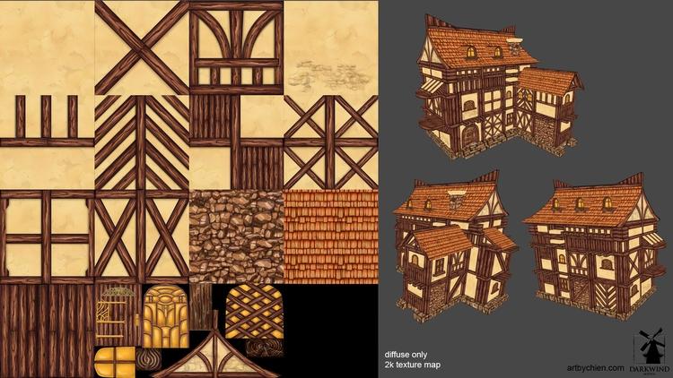 Stylized Village Game Environme - artbychien | ello
