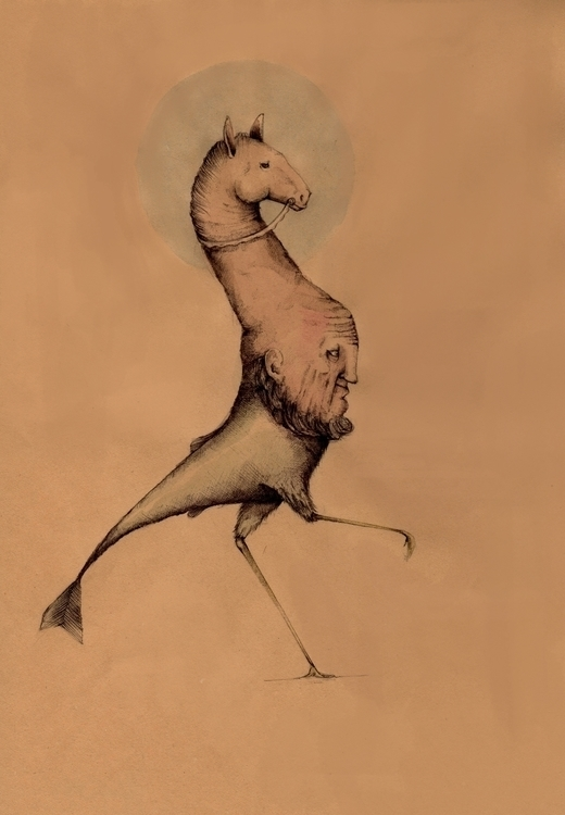 creature, illustration, pen, horse - stetocefalo | ello