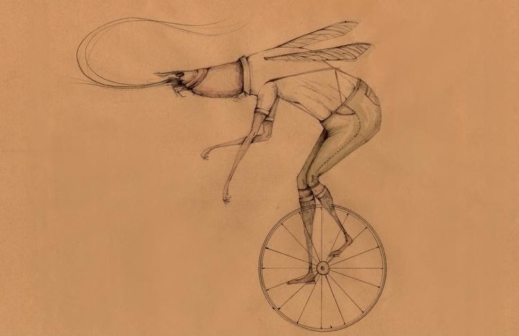 illustration, wheel, bike, lobster - stetocefalo | ello