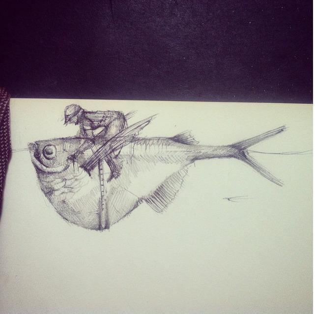 fish, sketch, horse, fantino - stetocefalo | ello