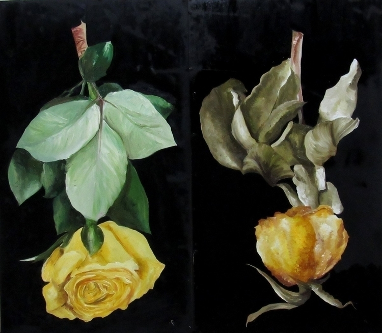 Dead Yellow - Life, Oil wood - roses - vanniegama | ello