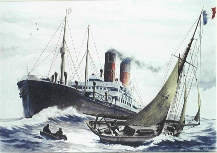 Pilot boat H24 - painting, watercolor - egral | ello