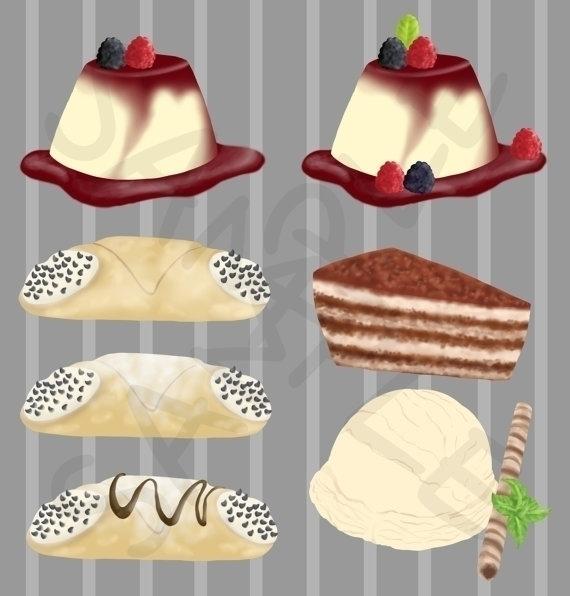 Italian Desserts Clip Art - illustration - bridgetpavalow | ello