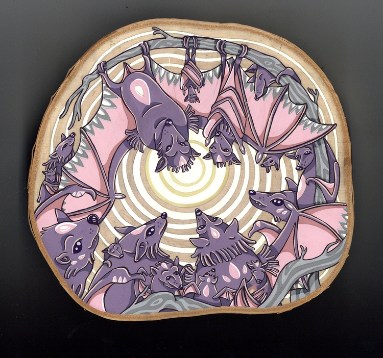 Lunar Awakening, gouache wood - bats - sagecotignola | ello