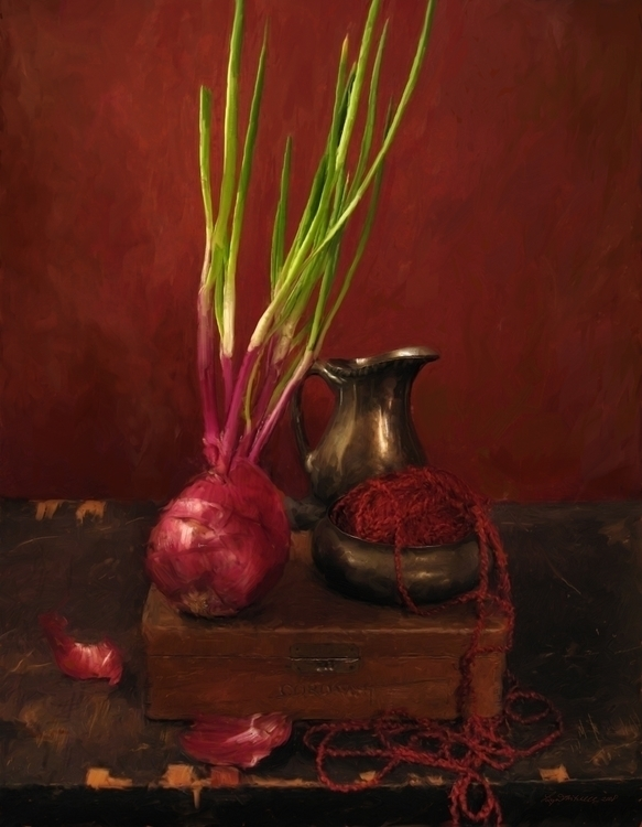 Red Study - painting, red, digitalart - lynnemitchell | ello
