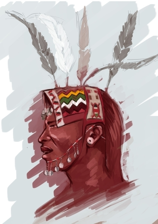 Samburu Warrior - illustration, painting - vostevoste | ello