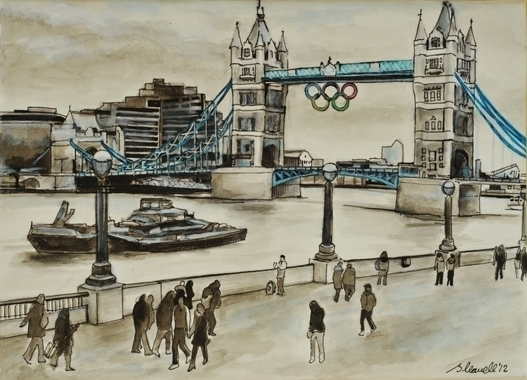 london, pen, towerbridge, thames - brionyhowellart | ello