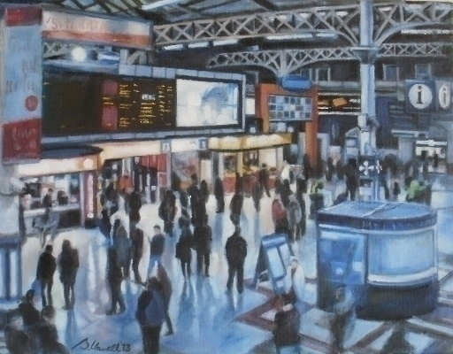 Victoria Station - oilpainting, crowd - brionyhowellart | ello